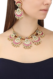 Gold Finish Kundan Pankhi Necklace Set