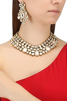 Gold Finish Kundan and Diamond Necklace Set