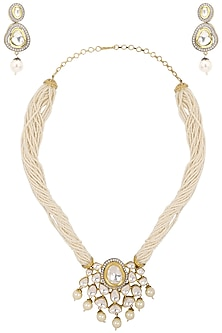 Gold Plated Kundan Necklace Set by Zevar by Geeta