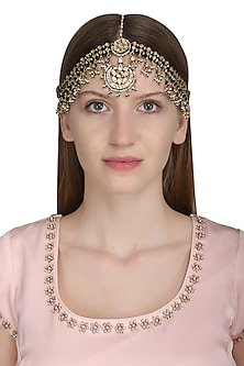 Gold Plated Pearl Embellished Maathapati by Zevar by Geeta
