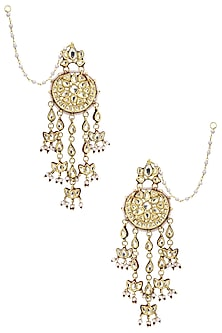Gold Plated Pearls and Kundan Earrings by Zevar by Geeta