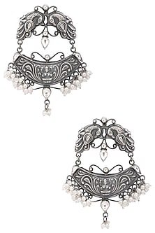 Silver Plated Chand Balis by Zevar by Geeta