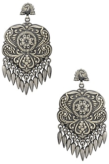 Silver Plated Tribal Earrings by Zevar by Geeta
