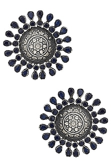 Silver Plated Amethyst Embellished Stud Earrings by Zevar by Geeta