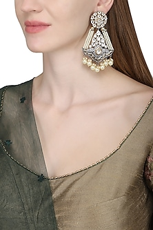 Gold Plated Kundan and Pearl Embellished Long Earrings