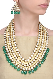 Gold Finish Pearl, Green and Kundan Stone 5 Line Necklace Set