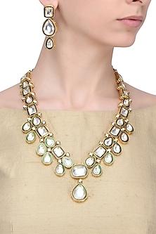 Gold Finish Kundan Stone Meena Work Long Necklace Set