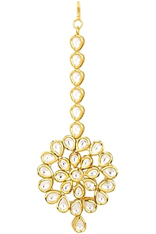 Gold Finish Kundan Stone Flower Shape Maang Tikka by Zevar by Geeta