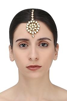 Gold Finish Kundan Stone Flower Shape Maang Tikka by Zevar by Geeta