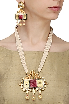 Gold Finish Abstract Pendant Multiple Pearl String Necklace Set by Zevar by Geeta