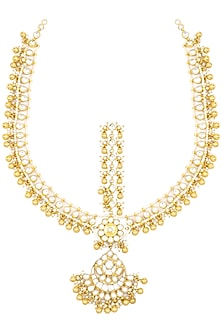 Gold Finish Kundan and Pearl Carved Matha Patti by Zevar by Geeta