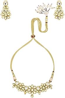 Gold Finish Floral Kundan Choker Necklace Set by Zevar by Geeta