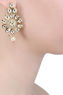 Gold Finish Kundan Stones and Pearl Drop Earrings