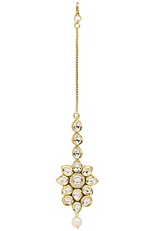 Gold Dipped Kundan Stones and Pearl Drop Maang Tikka by Zevar by Geeta