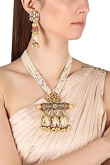 Gold Finish Kundan and Meena Work Jhumki Pendant Multiple Pearl String Necklace Set