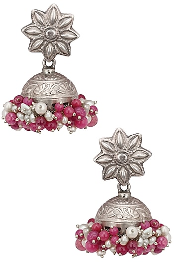 Sterling Silver Mirror and Pearl Tier Traditional Jhumkis by Zevar by Geeta