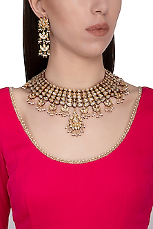 Gold plated pearl necklace set by Zevar by Geeta