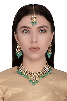 Gold plated onyx and pearl necklace set by Zevar by Geeta