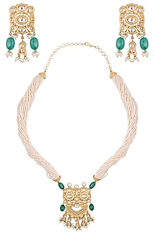 Gold plated green beads and pearl necklace set by Zevar by Geeta