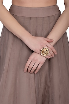 Gold plated kundan and pearl ring by Zevar by Geeta