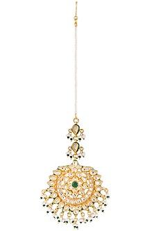 Gold plated pearl jadau maang tikka by Zevar by Geeta
