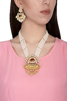 Gold plated pearl and glass pendant necklace set by Zevar by Geeta