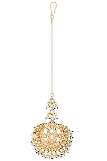 Gold plated pearl and glass maang tikka by Zevar by Geeta