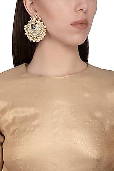 Gold plated meenakari pearl drop chandbali earrings by Zevar by Geeta