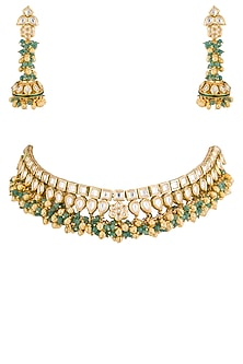 Gold plated pearl and kundan double line necklace set by Zevar by Geeta