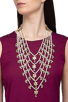 Gold Plated Glass & Pearl Necklace