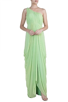 Pistachio Green One Shoulder Gown by Zephyrr by G & M