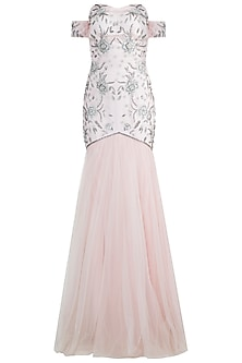 Light Pink Embroidered Fish Cut Gown by Zephyrr by G & M