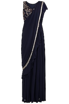 Midnight Blue Embroidered Palazzo Saree Set by Zephyrr by G & M