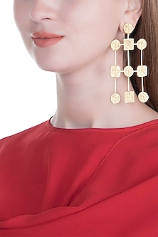 Gold Finish Handcrafted Long Earrings by ZOHRA