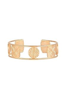 Gold Finish Handcrafted Geometric Patterned Bracelet by ZOHRA