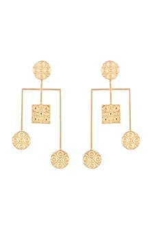 Gold Finish Handcrafted Square & Round Seal Motif Earrings by ZOHRA