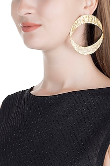Gold Finish Handcrafted Pictographic Symbol Earrings by ZOHRA