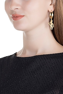 Gold Finish Handcrafted Dancing Girl Earrings by ZOHRA