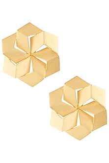 Gold plated 3D hexagon earrings by ZOHRA