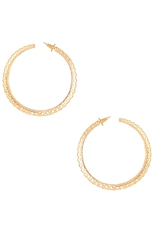 Gold plated snake skin slytherin hoop earrings by ZOHRA