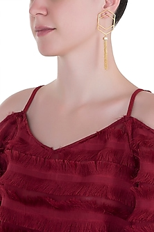 Gold plated double hexagon tassel earrings by ZOHRA
