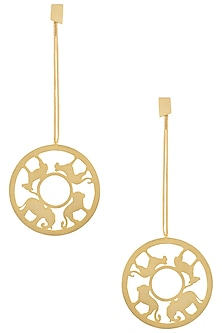 Gold plated animal chain earrings by ZOHRA
