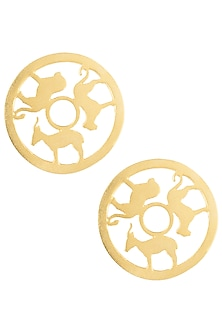 Gold plated animal stud earrings by ZOHRA