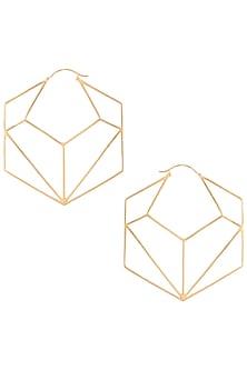 Gold plated geometric hexagon hoop earrings by ZOHRA