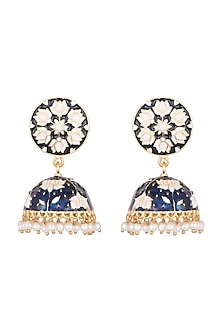Gold Plated White & Blue Lotus Meenakari Jhumka Earrings by Zerokaata