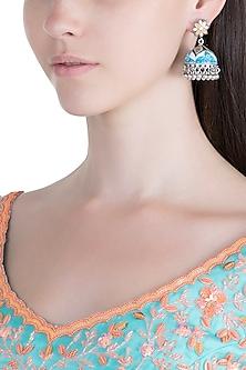 Silver Plated Patterned Meenakari Jhumka Earrings by Zerokaata