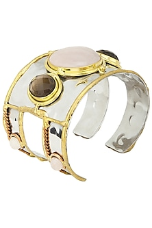 Gold Finish Rose Quartz Hand Cuff by Zerokaata