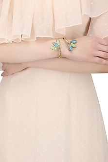 Gold Finish Lime Onyx and Blue Stone Hand Cuff by Zerokaata