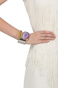 Silver Finish Purple Solar Quartz Bracelet by Zerokaata