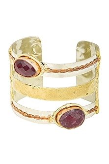 Gold Finish Ruby Stone Bracelet by Zerokaata
